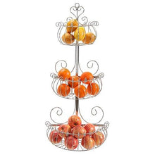 Load image into Gallery viewer, Wall Mounted Scrollwork Design Deluxe 3 Tier Black Iron Fruit Basket / Kitchen Storage Rack - MyGift - zingydecor