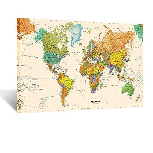 Large Size World Map Wall Art Framed Art Print Picture Wall Decor