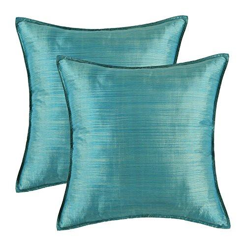 Pack of 2, CaliTime Cushion Covers Throw Pillow Cases Shells Modern Silky Light Weight Dyed Stripes, 18 X 18 Inches