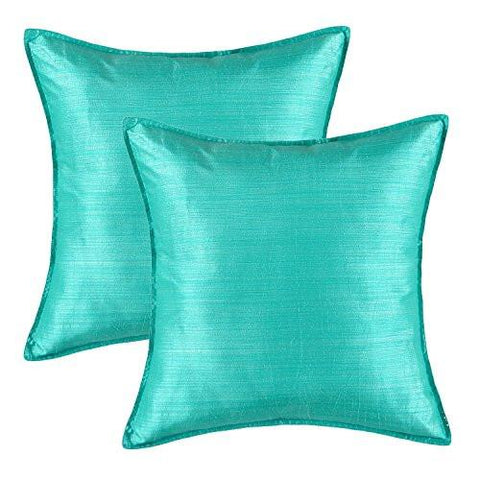 Image of Pack of 2, CaliTime Cushion Covers Throw Pillow Cases Shells Modern Silky Light Weight Dyed Stripes, 18 X 18 Inches