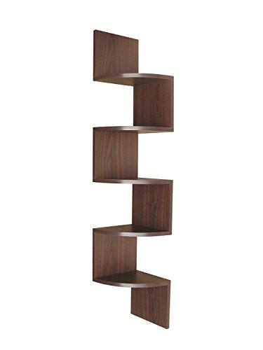 EWEI'S HomeWares 5 Tier Large Corner Wall Mount Shelf, Black - zingydecor