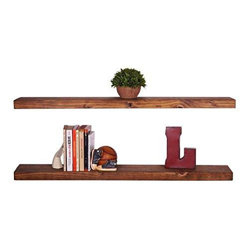 del Hutson Designs Handmade 24-Inch Rustic Pine Floating Wall Shelves, Walnut (Set of 2)