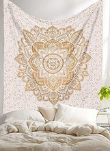 Load image into Gallery viewer, New Launched Blue Gold Passion Ombre Mandala Tapestry By Madhu International, Boho Mandala Tapestry, Wall Hanging, Gypsy Tapestry, Multicolor, 85 X 89 inches - zingydecor