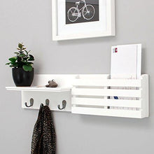Load image into Gallery viewer, Kiera Grace Sydney Wall Shelf and Mail Holder with 3 Hooks, 24-Inch by 6-Inch, White