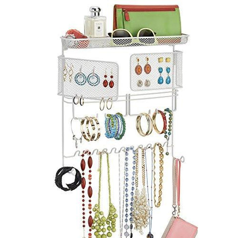 Image of mDesign Hanging Fashion Jewelry Organizer for Rings, Earrings, Bracelets, Necklaces - Wall Mount