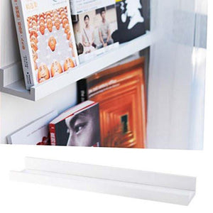 Denver Modern Floating Wall Ledge Shelf for Pictures and Frames 22 Inches Long , White - zingydecor