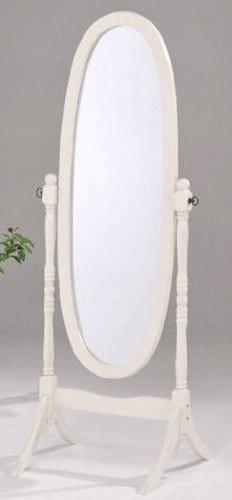 Swivel Full Length Wood Cheval Floor Mirror, White New - zingydecor