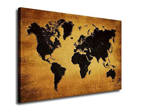 Wall art canvas prints vintage world map painting ready to hang 3 wall art canvas prints vintage world map painting ready to hang 3 pieces large framed gumiabroncs Gallery