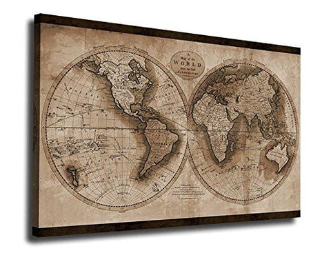 Wall art canvas prints vintage world map painting ready to hang 3 wall art canvas prints vintage world map painting ready to hang 3 pieces large framed gumiabroncs Image collections