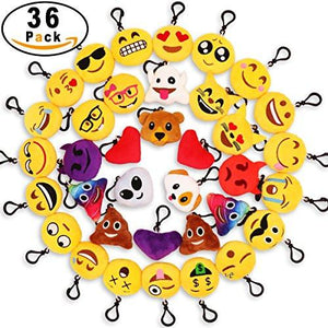 "MelonBoat 16 Pack Emoji Mini Plush Pillows, Keychain Decorations, Kids Party Supplies Favors, 2"" Set of 16"