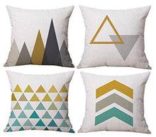 Modern Simple Geometric Style Soft Linen Burlap Square Throw Pillow Covers, 18 x 18 Inches, Set of 4 - zingydecor