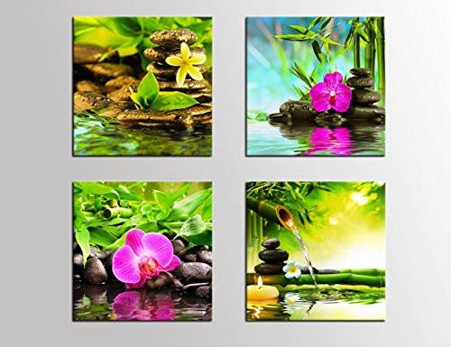 Canvas Prints Zen Art Wall Decor - Spa Massage Treatment Painting Picture Print on Canvas Framed Ready to Hang - Red Orchid Frangipani Bamboo Waterlily Black Stone in Garden - 4 Panel Giclee Artwork
