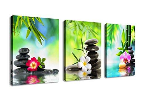 Canvas Painting Wall Art Decor SPA Stone Green Bamboo Pink Waterlily and Frangipani Pictures - 3 Panels Modern Zen Canvas Painting Prints Giclee Art for Home Office and Kitchen Framed Ready to Hang - zingydecor