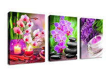 Load image into Gallery viewer, Canvas Painting Wall Art Decor SPA Stone Green Bamboo Pink Waterlily and Frangipani Pictures - 3 Panels Modern Zen Canvas Painting Prints Giclee Art for Home Office and Kitchen Framed Ready to Hang - zingydecor