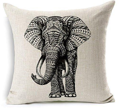 Image of CoolDream Cotton Linen 18 by 18-Inch Decorative Throw Pillow Cover, Multicolor Elephant