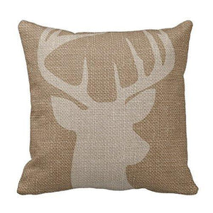 Cukudy Decors Square Decorative Throw Pillow Case Cushion Cover Rustic Deer Buck Burlap Throw Pillows 18 X 18 2 Sides Printed - zingydecor