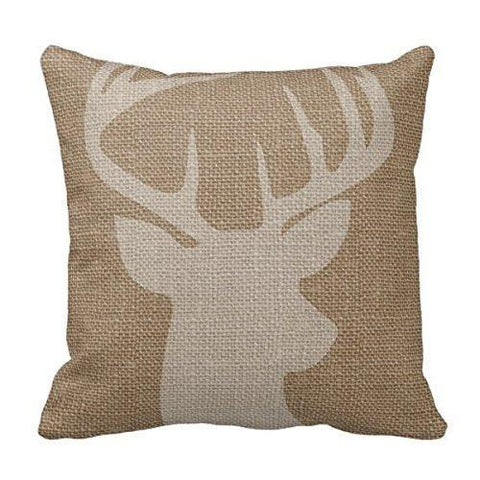 Image of Cukudy Decors Square Decorative Throw Pillow Case Cushion Cover Rustic Deer Buck Burlap Throw Pillows 18 X 18 2 Sides Printed