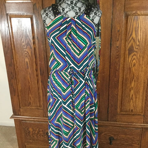 Calvin Klein Multi Color Chevron Print Halter Maxi Dress Size S