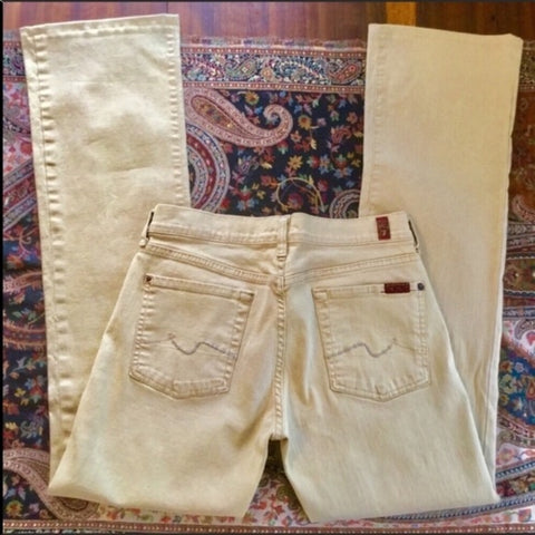 7 For All Mankind Tan Flare Jeans Size 29