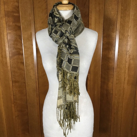 Gold, Black & Gray Floral Print Wrap Scarf