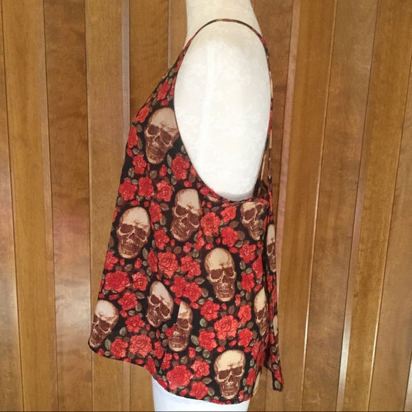 Styles Red & Black Rose & Skull Print Tank Top Size M