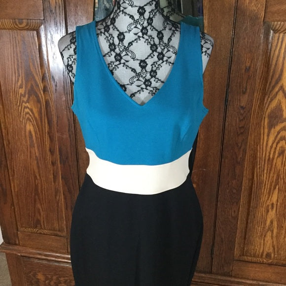 Karen Kane Blue, Black & White Color Block Sleeveless Dress Size L