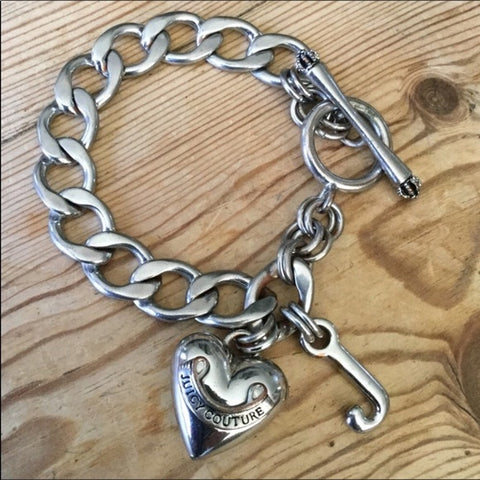 Juicy Couture Silver Chain Link Puffy Heart Bracelet