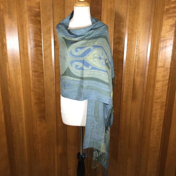 Blue, Yellow & Green Floral Print Wrap Scarf