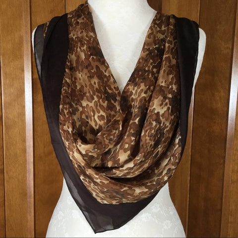 Anne Klein Brown & Cream Abstract Print Silk Scarf