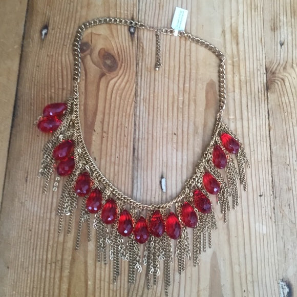 Red Acrylic Beads & Gold Chain Statement Necklace