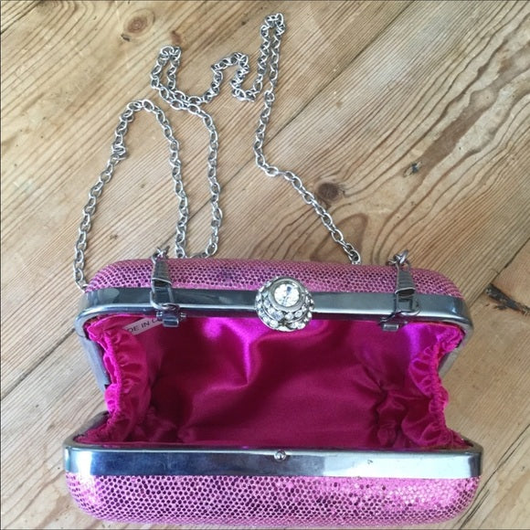 Pink Sparkly Hard Body Evening Bag Purse Clutch