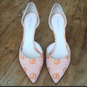 Giorgio Armani Orange Fabric Logo Print Pumps Size 39