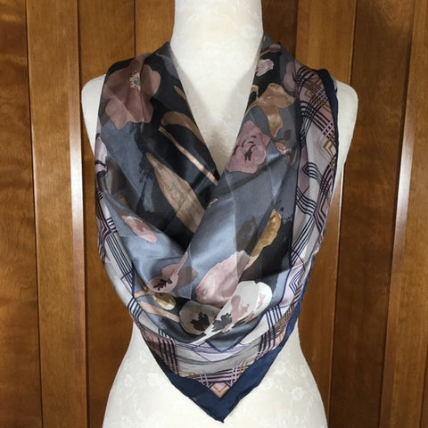 Bill Blass Gray, Cream & Blush Floral Silk Scarf