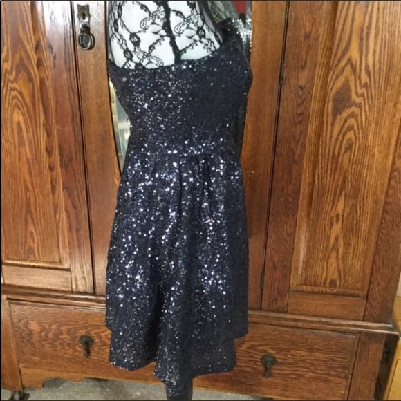 B Darlin Blue Sequin Strapless Fit & Flare Dress Size 3/4