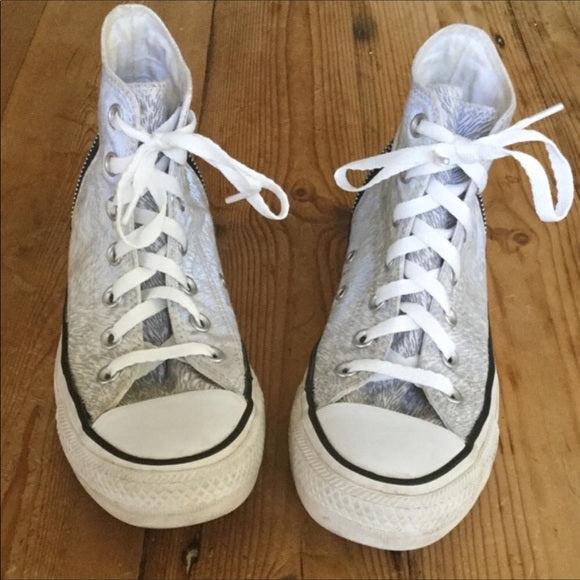 Converse All Stars Gray & White High Top Sneakers Size 6.5
