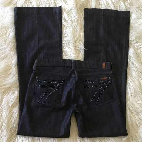 7 For All Mankind Black Dojo Boot Cut Jeans Size 30