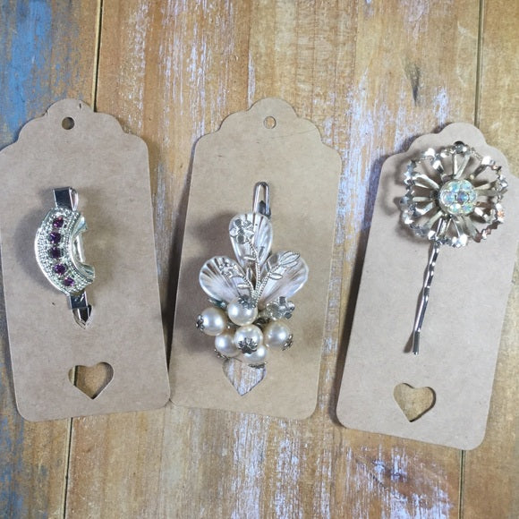 Handmade Hair Clips  From Repurposed Vintage Earrings