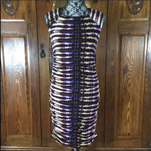 Taylor Black, Blue, White & Purple Tie Dye Print Sleeveless Dress Size 2