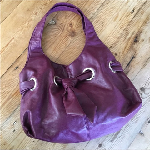 Burgundy Faux Leather Hobo Shoulder Handbag Purse