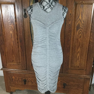 Trouve Gray Ruched Sleeveless Tube Dress Size S
