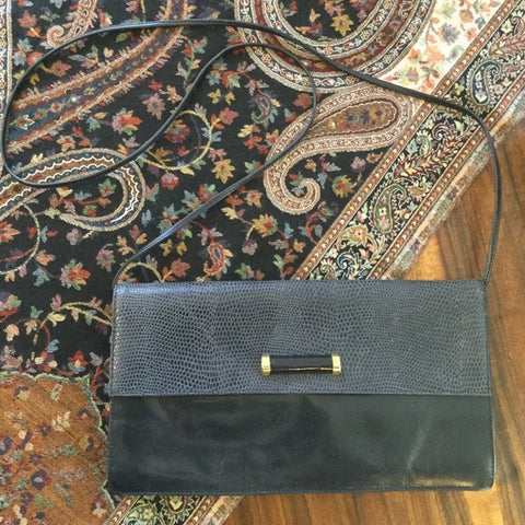 Nordstrom Navy Blue Leather Clutch Shoulder Bag Purse Clutch