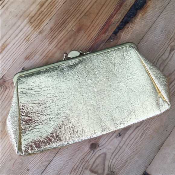 Vintage St. Thomas Gold Clutch Hand Bag Purse