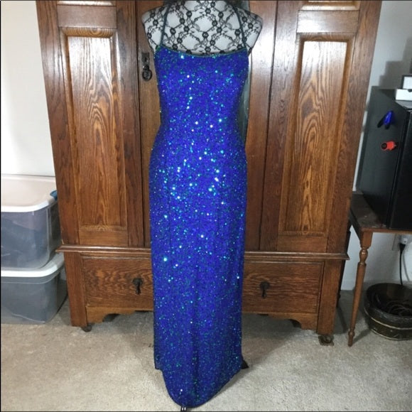 Scala Royal Blue Hand Beaded & Sequin Sleeveless Silk Gown Size XL