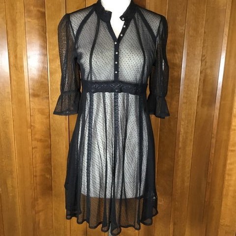 Free People Black Sheer Lace Ruffle Sleeve Dress Size S/P