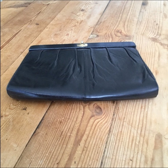 Vintage Charles Jourdan Paris Black Leather Clutch Bag