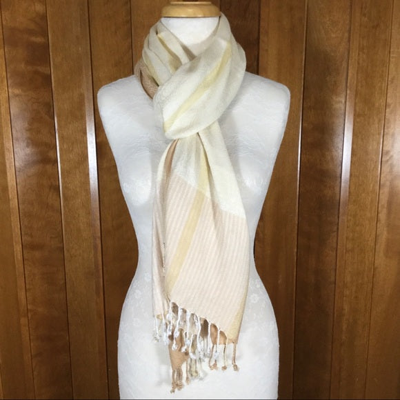 Yellow & Cream Striped Embroidered Wrap Scarf