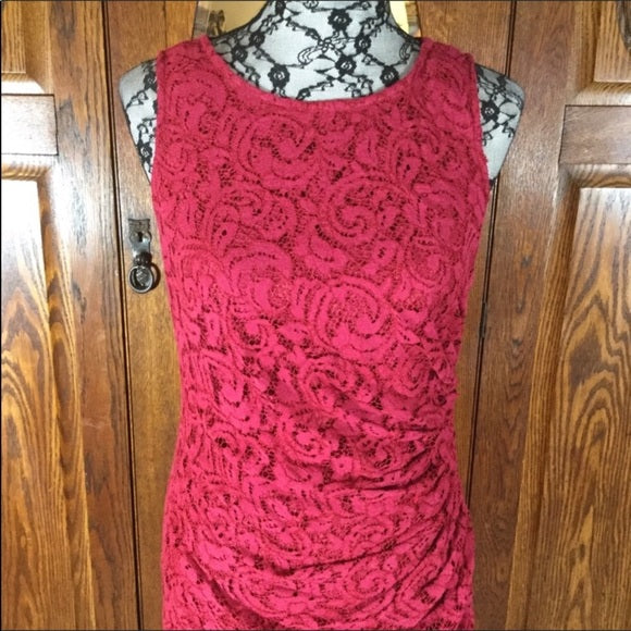 Adrianna Papell Dark Red Lace Sleeveless Dress Size 8