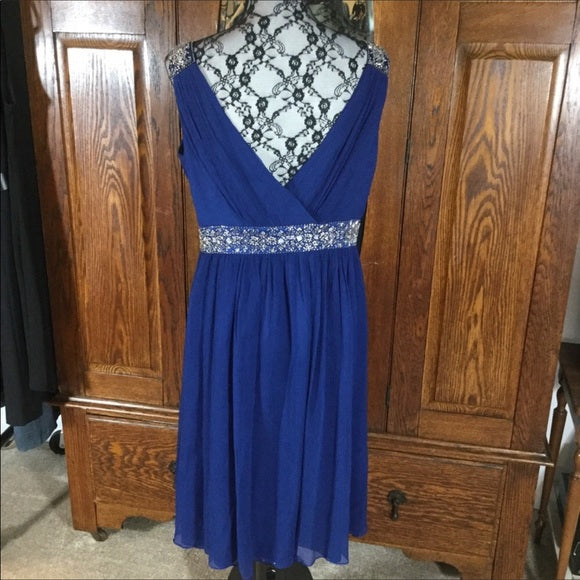 Maggy London Royal Blue & Silver Beaded Silk Sleeveless Dress Size 14