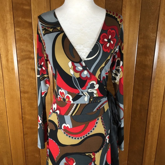 Crystal Candy Red, Gray & Black Floral Print Long Sleeve Wrap Dress Size L
