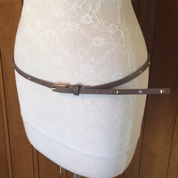 Thin Taupe Faux Leather Studded Belt
